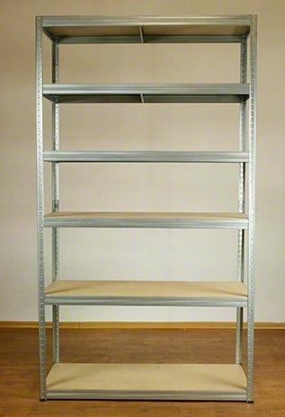 Metallregal Steck-Lager- Schwerlastregal bis 400 kg pro Boden , verzinkt , HZ_213x120x45, 6 Böden