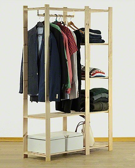Kleiderschrank  5 Böden 170x110x38 cm, B-25, Unbehandelt