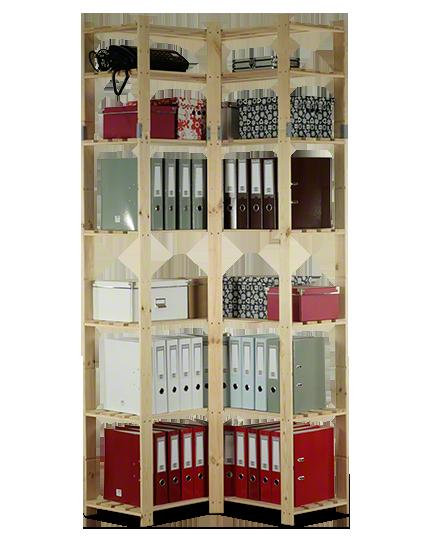 Holzregal 7 Böden 220x85x38 cm, B-33, Unbehandelt