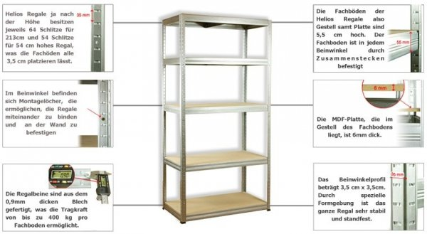 Metallregal Steck-Lager- Schwerlastregal bis 400 kg pro Boden , verzinkt , HZ_090x120x40, 3 Böden