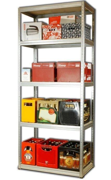 Metallregal Steck-Lager- Schwerlastregal bis 400 kg pro Boden , verzinkt , HZ_196x100x45, 5 Böden