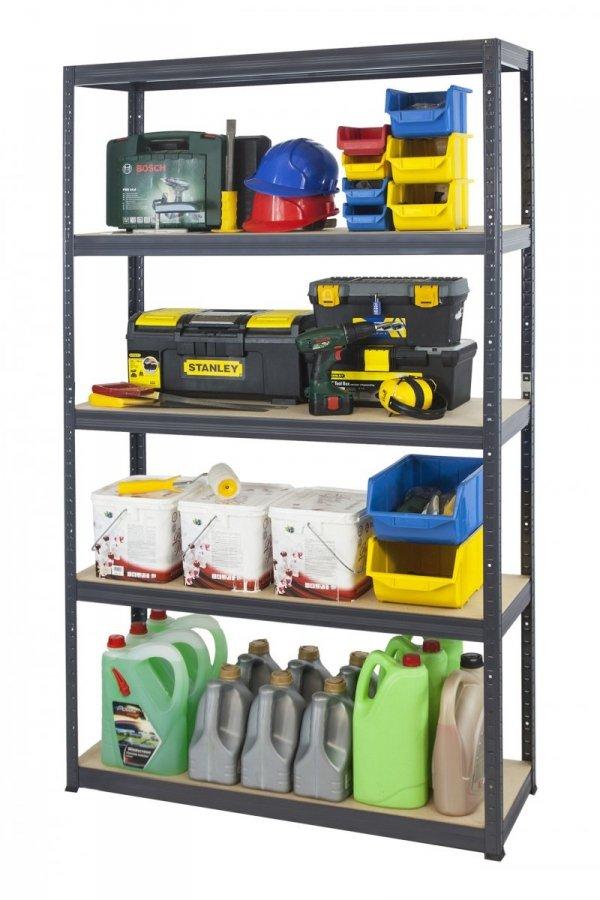 Metallregal Werkstatt Schwerlastregal Helios 196x100x30_5 Böden, Tragkraft bis 400 Kg pro Boden,  Viele Farben zur Auswahl