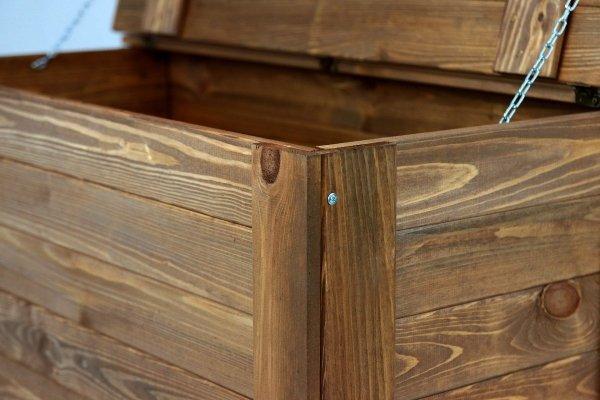 Holztruhe Truhe Kiste mit Deckel Wäschetruhe Spielkiste Box B-13 / Braun geölt, (52x80x40 cm)