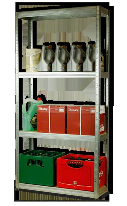 Metallregal Steck-Lager- Schwerlastregal bis 400 kg pro Boden , verzinkt , HZ_180x100x35, 4 Böden
