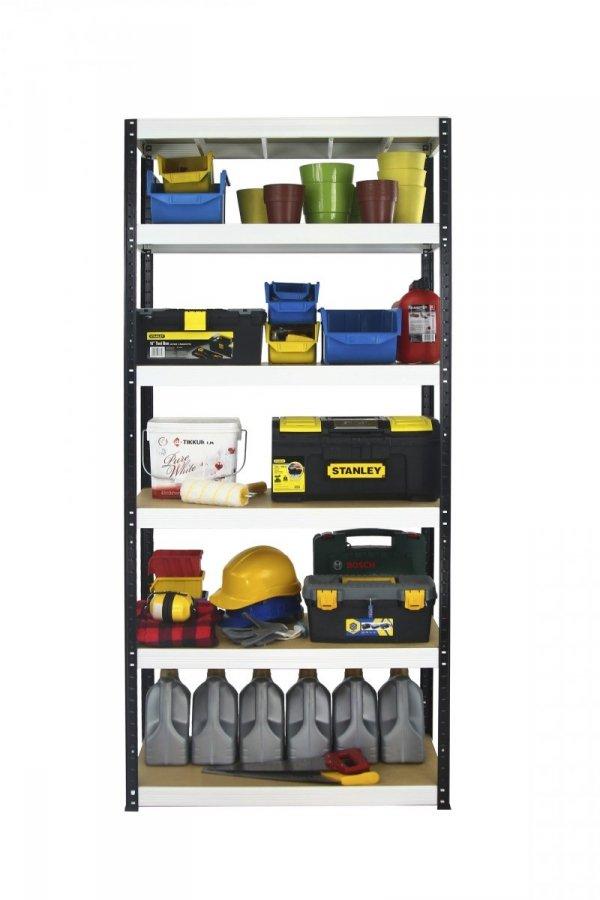 Metallregal Werkstatt Schwerlastregal Helios 196x075x45_6 Böden, Tragkraft bis 400 Kg pro Boden,  Viele Farben zur Auswahl