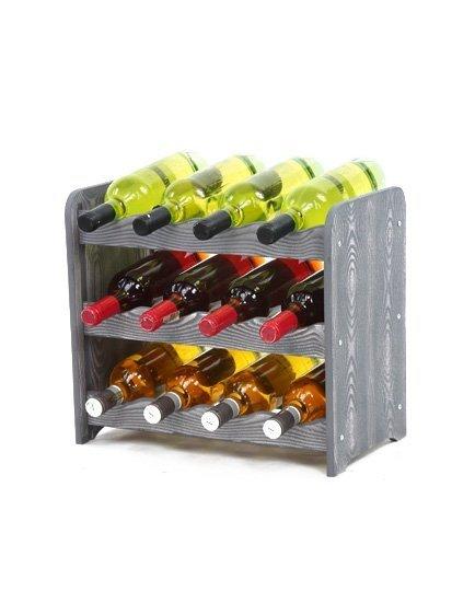 Weinregal Holz 12 Flaschen, RW-16-12, (43,4x26,5x37,4), Dunkelgrau, Ecru, Dunkelgrau Decor, Dunkelbraun Decor