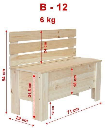 Holztruhe  Truhenbank Sitzbank für Kinder Spielkiste B-12 /Erle geölt, (71x29x54 cm)