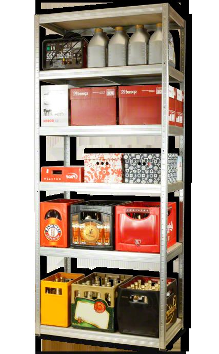 Metallregal Steck-Lager- Schwerlastregal bis 400 kg pro Boden , verzinkt , HZ_213x110x50, 6 Böden