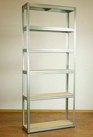 Metallregal Steck-Lager- Schwerlastregal bis 400 kg pro Boden , verzinkt , HZ_196x075x30, 6 Böden