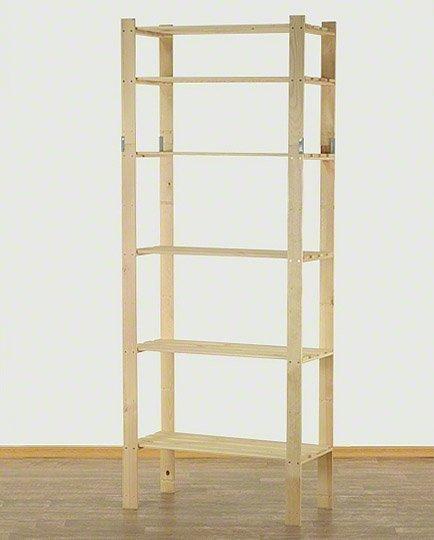 Holzregal 7 Böden 220x80x38 cm, B-30, Unbehandelt