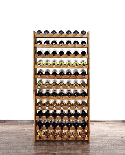 Weinregal für 77  Flaschen RW-3-77 (72X26,5X145), Unbehandelt, Erlen, Braun
