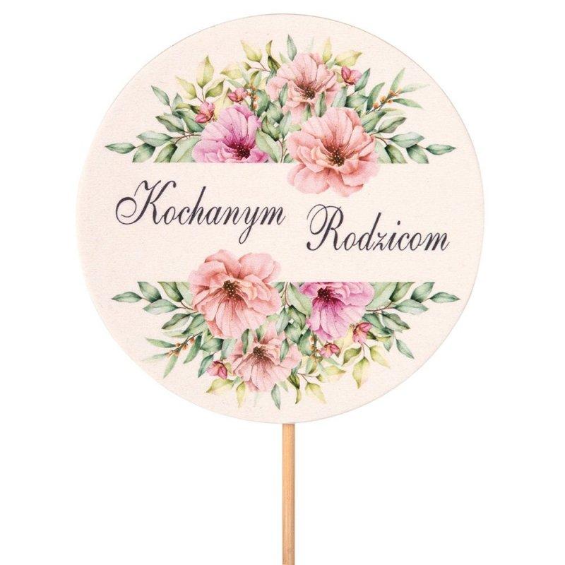 Topper Okrągły Kochanym Rodzicom Różowe Kwiaty