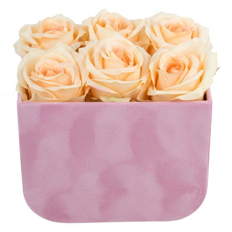 Flower Box Zamszowy Z Uszami Duży Róż