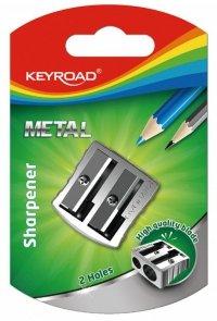 Temperówka KEYROAD, aluminiowa, podwójna, srebrna
