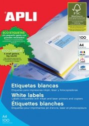 Etykiety uniwersalne APLI, 105x37mm, prostokątne, białe 100 ark.