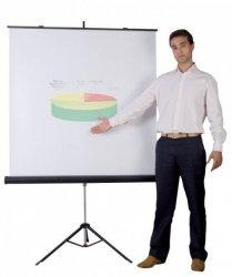 Ekran projekcyjny BI-OFFICE, na trójnogu, 1520x1520mm, biały