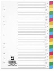 Przekładki Q-CONNECT, PP, A4, 225x297mm, 20 kart, mix kolorów