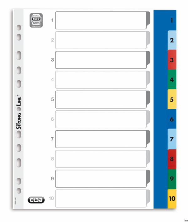 Przekładki numeryczne A4 MAXI 1-10, kolorowe, polipropylenowe, OXFORD 100205095