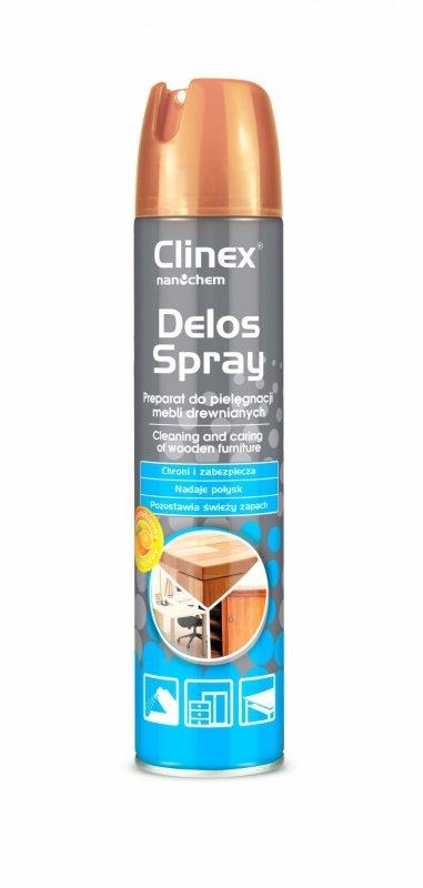 Spray do pielęgnacji i czyszczenia mebli drewnianych CLINEX Delos Shine, 300ml