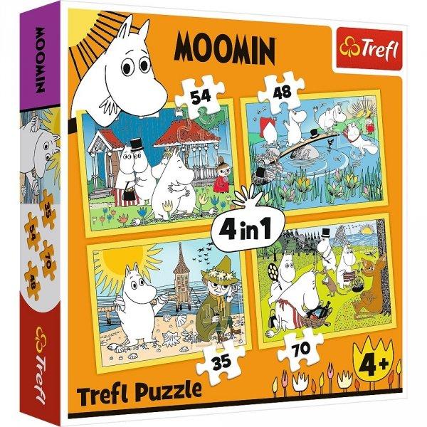 Puzzle 4w1 Wesoły dzień Muminków