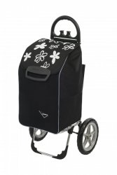Wózek na zakupy Berlino czarny w kwiatkami, firmy Aurora