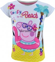 T-shirt Świnka Peppa Beach biały