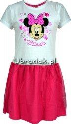 Sukienka Myszka Minnie biało-różowa z tiulem