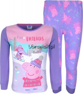 Piżama Świnka Peppa Przyjaciele fiolet
