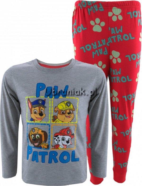 Piżama Psi Patrol szaro-czerwona z długimi spodniami
