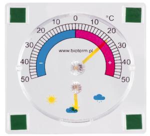 Termometr i higrometr przyklejany 90/90 mm