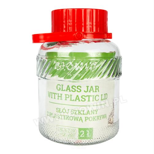 Słój 2 L z plastikową pokrywą