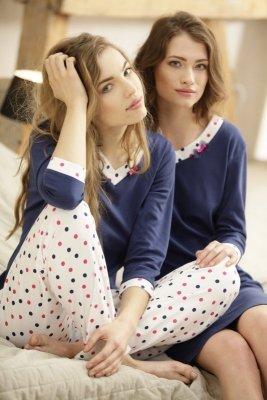 Luna Eleonore 376 Tmavě modro-ecru Dámské pyžamo
