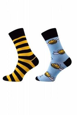 Sesto Senso Finest Cotton Duo včela/pruhy Ponožky