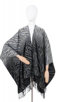 Art Of Polo 19576 Zimní zebra dámské pončo