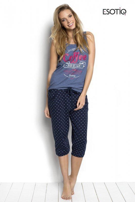 Esotiq Sunday 34237-55X, 34239-55X Modro-tmavě modré Dámské pyžamo