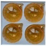 Bombki gładkie 8 cm 4 szt złote przezroczyste