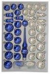 Zestaw dekorowany 39 szt biało-srebrno-niebieski