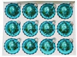 Bombki gładkie 6cm 12 szt turkus błysk