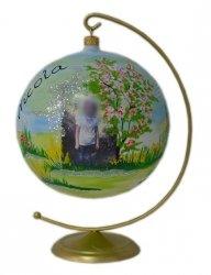 Bombka ze zdjęciem 15 cm +stojak