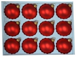 Bombki gładkie 6cm 12 szt czerwony mat