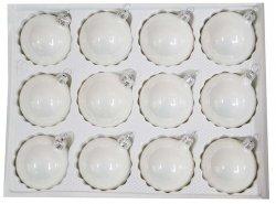 Bombki gładkie 6 cm 12 szt biały opal