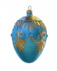 Jajo duże dekorowane turkus