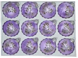 Bombki dekorowane 6 cm 12 szt fioletowa mrożonka