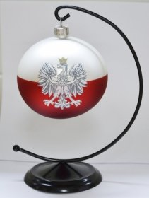 Bombka szklana biało-czerwona ORZEŁ