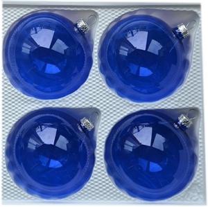 Bombki gładkie 8 cm 4 szt niebieskie przezroczyste