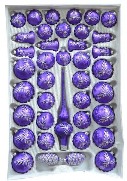 Zestaw dekorowany 39 szt fiolet ciemny