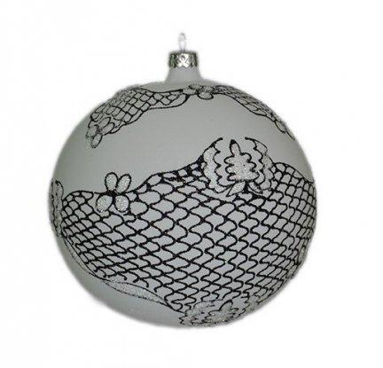 Bombka dekorowana duża 15 cm  biało-czarna Koronka