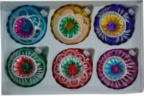 Bombki 8 cm 6 szt REFLEKTOR mix kolorów