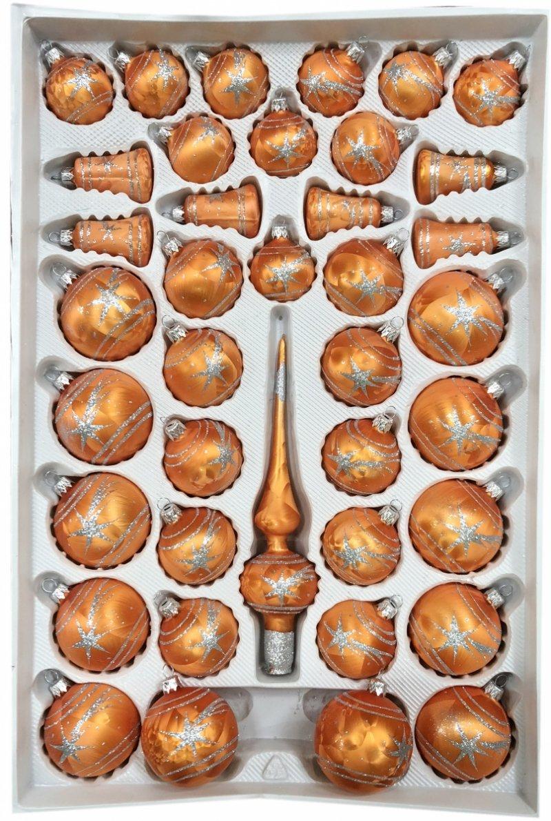 Zestaw 39 szt dekorowany pomarańczowy