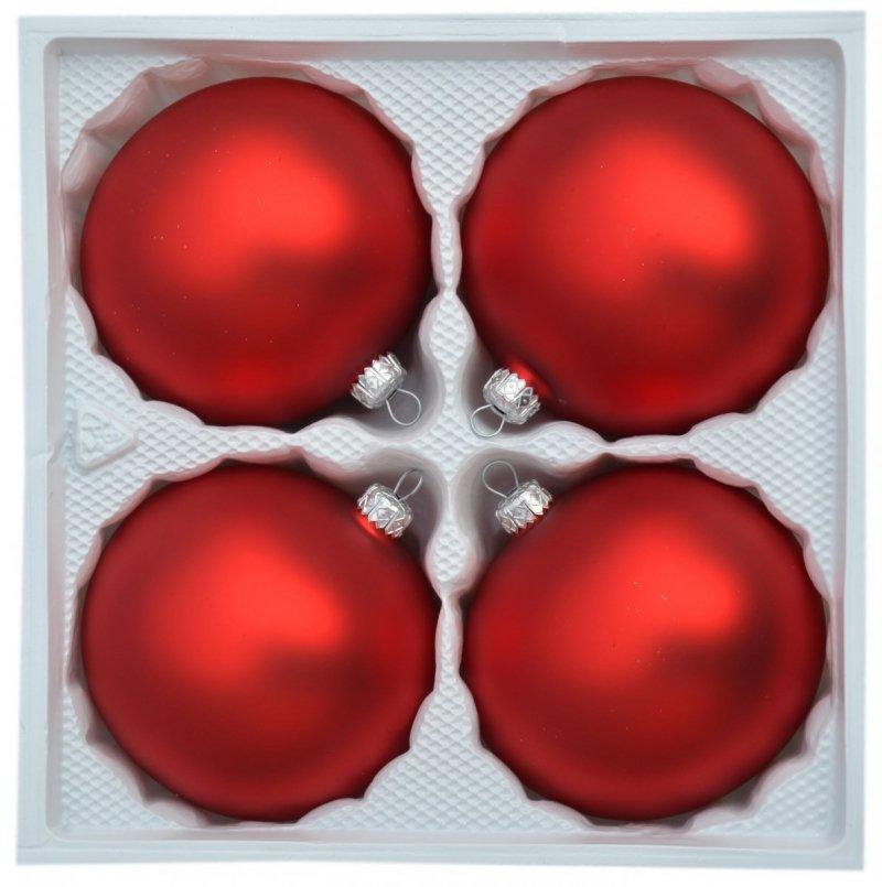 Bombki gładkie 10 cm 4 szt. czerwony mat
